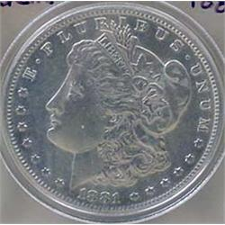1881-S MORGAN SILVER DOLLAR - GEM UNC.