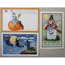 LOT OF 3 EARLY HALLOWEEN POSTCARDS - Incl. Witches