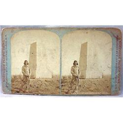 ANTIQUE PHOTO STEREOVIEW CARD OF CURLEY INDIAN SCO