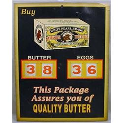 VINTAGE WHITE PEARL BUTTER AND EGGS STORE ADVERTIS