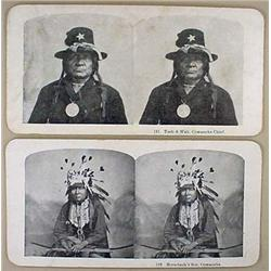 LOT OF 2 ANTIQUE NATIVE AMERICAN INDIAN STEREOVIEW