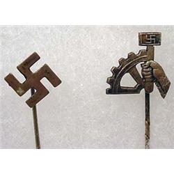 PAIR OF GERMAN STICK PINS - NSBO AND SWASTIKA