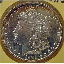 1891-S MORGAN SILVER DOLLAR - UNC.