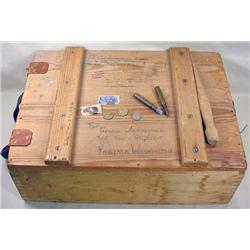 WW2 ERA WOODEN CRATE - SOLDIER USED THIS TO SEND N