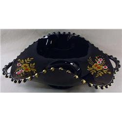 C. 1937 BLACK CANDLEWICK 2 HANDLED BOWL - COSMOS -