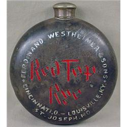 C. 1900 RED TOP RYE PEWTER ADVERTISING FLASK - App
