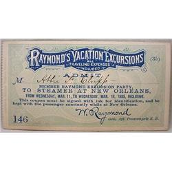1885 RAYMOND'S VACATION EXCURSIONS STEAMSHIP PASS