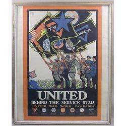 "WW1 ""UNITED WAR WORK CAMPAIGN"" POSTER - FRAMED - A"