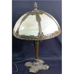 SLAG GLASS TABLE LAMP W/ PINEAPPLE FINIAL - Approx