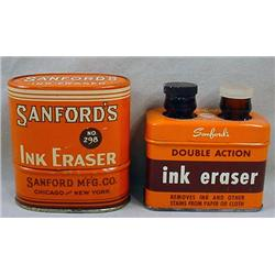 LOT OF 2 VINTAGE SANFORD'S INK ERASER ADVERTISING