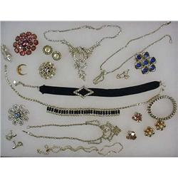 LOT OF COSTUME JEWELRY - INCL. MANY RHINESTONES