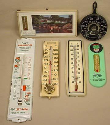LOT OF 6 VINTAGE ADVERTISING THERMOMETERS - Incl