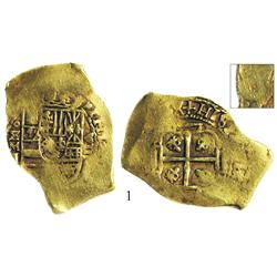 Mexico City, Mexico, cob 8 escudos, (171)0J, silver-cob shape, extremely rare, Plate Coin in Pradeau