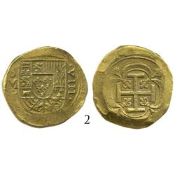 Mexico City, Mexico, cob 8 escudos, oM-dot-J (1716-23), from the 1733 Fleet, rare.