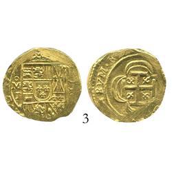 Mexico City, Mexico, cob 2 escudos, 171(4), oMJ, from the 1715 Fleet.