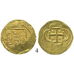 Mexico City, Mexico, cob 2 escudos, (1714), oMJ, from the 1715 Fleet.