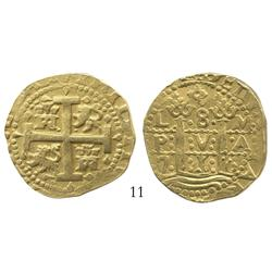 Lima, Peru, cob 8 escudos, 1716M, 2-year variety with rows and columns of dots, from the Loosdrecht