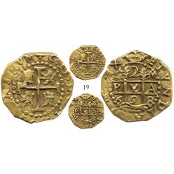 Cuzco, Peru, cob 2 escudos, 1698M, from the 1715 Fleet, choice, Plate Coin in Diving to a Flash of G