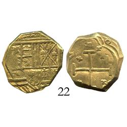 Bogota, Colombia, cob 2 escudos, Philip IV, assayer not visible, rare style of the 1620s.
