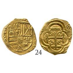 """Bogota, Colombia, cob 2 escudos, Philip IV, assayer A, from the """"Mesuno hoard"""" (ca. 1636)."""