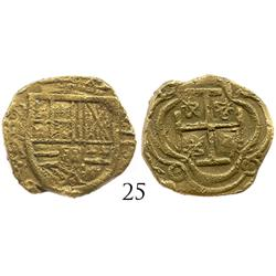 "Bogota, Colombia, cob 2 escudos, Philip IV, assayer A, from the ""Mesuno hoard"" (ca. 1636)."
