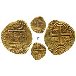 "Bogota, Colombia, cob 2 escudos, (165)4(R), from the ""Jupiter wreck"" (1659)."
