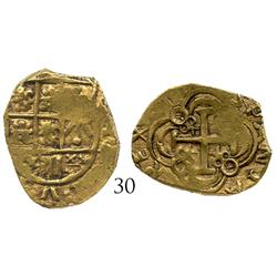 Bogota, Colombia, cob 2 escudos, dated (170)3 or 5, from the 1715 Fleet.