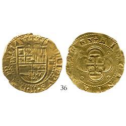Seville, Spain, cob 4 escudos, Philip II, S-Gothic D to left, choice specimen on a HUGE flan.