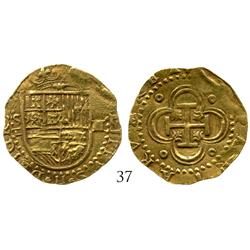 Seville, Spain, cob 2 escudos, Philip II, S-Gothic D (open) to left.