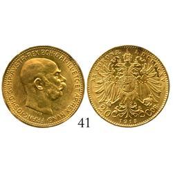 Austria, 20 coronas, 1915, Mint State.