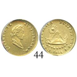 Potosi, Bolivia, 1/2 scudo, 1845R, encapsulated ANACS cleaned AU-55 details.