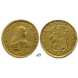 Santiago, Chile, bust 4 escudos, Ferdinand VI, 1749J.