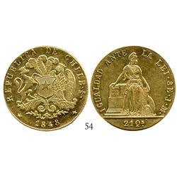 Santiago, Chile, 8 escudos, 1848JM.
