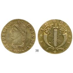 Bogota, Colombia, 8 escudos, 1832RS, contemporary counterfeit struck in gold-plated platinum.