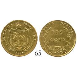 Costa Rica, 2 pesos, 1867GW, rare.