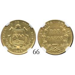 Costa Rica, 2 pesos, 1868GW, encapsulated NGC AU-50.