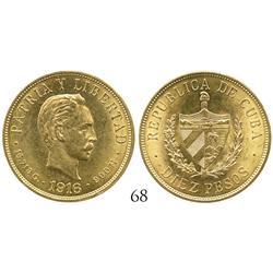 Cuba, 10 pesos, 1916.