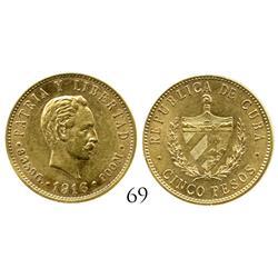 Cuba, 5 pesos, 1916.