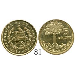Guatemala, gold presentation issue 5 centavos, 1953, extremely rare (only 25 struck, of which 10 are