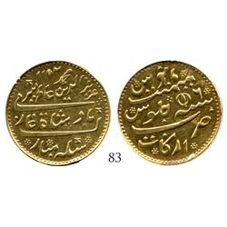 India (British), Madras Presidency, mohur, Alamgir II, Arcot mint, date AH1172 year 6 (1758-62) but