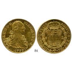 Mexico City, Mexico, bust 8 escudos, Charles IV, 1799FM.