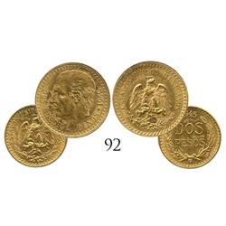 Lot of 2 Mexico City, Mexico, smaller gold (2-1/2 pesos and 2 pesos), 1945.