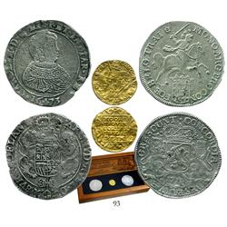 Utrecht, United Netherlands, ducat, 1711, housed in promotional box along with 2 silver ducatoons (F