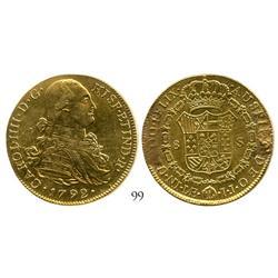 Lima, Peru, bust 8 escudos, Charles IV, 1792IJ.