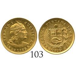 Lima, Peru, 1/5 libra, 1906.