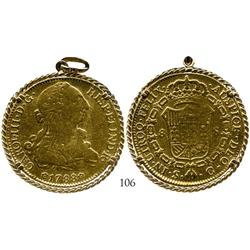 Seville, Spain, bust 8 escudos, Charles III, 1788C, mounted in 18K necklace bezel.