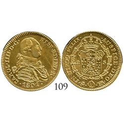 Madrid, Spain, bust 2 escudos, Charles IV, 1801FA, contemporary counterfeit made in gold-plated PLAT