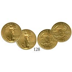 Lot of 2 USA (Philadelphia mint) $5 Eagles, 2007.