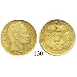 Venezuela, 20 Bolivares, 1886, low 6, encapsulated ANACS AU-53, rare in this grade.
