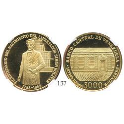Venezuela, proof 3000 Bolivares, 1983, Bolivar Bicentennial, encapsulated NGC PF-68 Ultra Cameo.